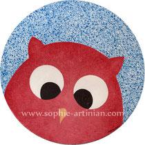 Hoou houuu le hibou ! Acrylique sur toile, diamètre 30cm (janvier 2012).