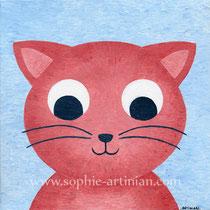 Charly le chat. Acrylique sur toile, format 20x20cm (mai 2014).