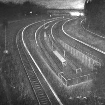 """Angekommen, aus der reihe """"Entgleiten""""; Kohle auf Papier, 50x70cm, 2014"""