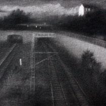 """Am Rande eines Tages, aus der reihe """"Entgleiten""""; Kohle auf Papier, 50x70cm, 2014"""