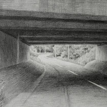 bridge on the road 2, 2017; bleistift auf papier, 12,5x17cm