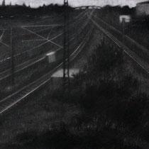 """Vergessen und weiter, aus der reihe """"Entgleiten""""; Kohle auf Papier, 50x70cm, 2014"""