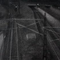 """Zwischen den Zeilen, aus der reihe """"Entgleiten""""; Kohle auf Papier, 50x70cm, 2014"""