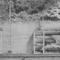 bahngleise entlang, 2017; bleistift auf papier,  21x17cm
