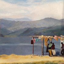 Sérénité, Lac de Pokhara au Népal -2013- Vendu