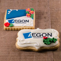 Aegon bedrijfslogo koekjes