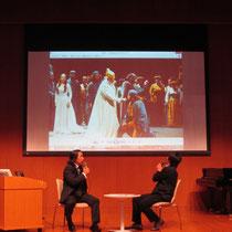 ドミンゴ、フリットリ、フルラネット、ハンプソン、ヌッチ・・・世界のトップアーティストとの共演のお話は写真で説明。