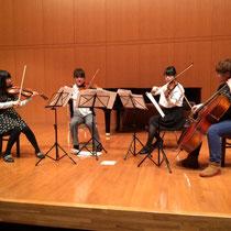 弦楽四重奏のリハーサルです。