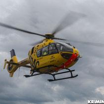 Mit einem Rettungshubschrauber wurde der schwer Verletzte in ein Krankenhaus gebracht.|Foto: Christopher Sebastian Harms