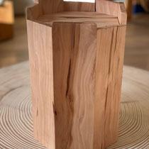 Urne achteckig aus Apfelbaum, geölt, passend für AK