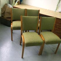 4 CHAISES  STEINER Bow Wood- pied en laiton-  Tissu vert Roméo