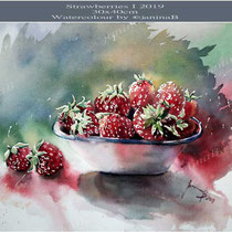 Strawberries I 2019 (27) / 30x40cm Watercolour by ©janinaB