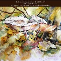 Mushrooms I 2019 (27) / 30x40cm Watercolour by ©janinaB.