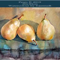 Pears II 2019 (O4) / 20x30cm Watercolour by ©janinaB