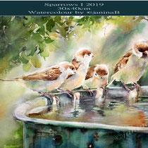 Sparrows I 2019 (nicht verfügbar) / 30x40cm Watercolour by ©janinaB