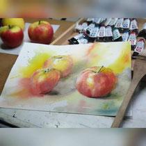 Apples III 2019 (27) / 23x31cm Watercolour by ©janinaB.