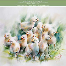 chicks I 2019  (27) / 30x40cm Watercolour by ©janinaB