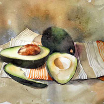 Avocado-I-2019 (O4) / 20x30cm Watercolour by ©janinaB.