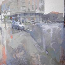 <b>Plaza Aragón</b>: Oleo sobre lienzo 1,14x0,78