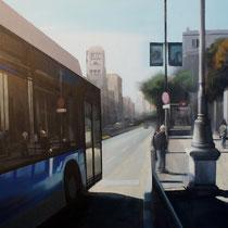 <b>Autobús</b>: Oleo sobre lienzo 1,00x0,81