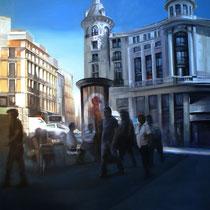<b>Plaza Canalejas</b>: Oleo sobre lienzo 1,80x1,70