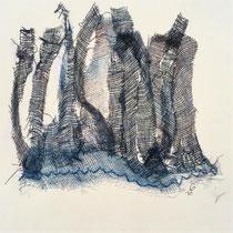 Gabriele Keil-Haack, Gaze bestickt auf Papier, 20x20 cm, Preis: 50€, weitere Arbeiten auf Anfrage
