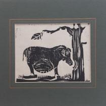Eva-Maria Schletter, Genügsamkeit , Holzschnitt, Passepartout 34,5x38,5cm, € 180,-