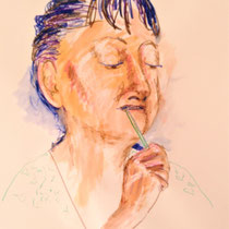 "Teresa Lankes, Portrait ""Dorothy"", Wachs, Aquarell und bunte Kreide auf Papier ohne Rahmen. 40x60, 40,- bis 80,- je nach Laune"