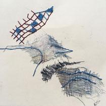 Gabriele Keil-Haack, Gaze bestickt auf Papier, 15 x 15 cm;  35 Euro