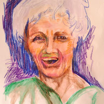"Teresa Lankes, Portrait, ""Alice"", Wachs, Aquarell und bunte Kreide auf Papier ohne Rahmen. 40x60, 40,- bis 80,- je nach Laune"
