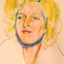 """Teresa Lankes, Portrait """"Martha"""", Wachs, Aquarell und bunte Kreide auf Papier ohne Rahmen. 40x60, 40,- bis 80,- je nach Laune"""
