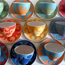 Carolin Rademacher, www.keramik-rademacher.de, Bowls mit Teller, verschiedene Farben und Muster, auch einzeln , Steinzeug, spülmaschinengeeignet, Bowl 22€ Teller 16€
