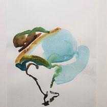 Poema II; Maya Franzen ;Aquarell Vollholzrahmen weiß mit Passepartout hinter Glas 40x 50cm; 280€