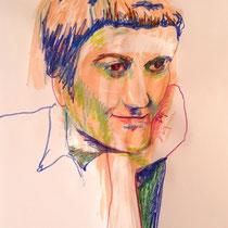 """Teresa Lankes, Portrait, """"Francoise"""", Wachs, Aquarell und bunte Kreide auf Papier ohne Rahmen. 40x60, 40,- bis 80,- je nach Laune"""