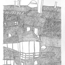 1.  Horizontuntersuchungen II / den Horizont stapeln No. 1, Bleistift auf Papier, 50 cm x 70 cm, Preis Weihnachtsangebot: 200 € weitere auf www.luziarux.com