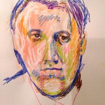 "Teresa Lankes, ""Ödön"", Portrait, Wachs, Aquarell und bunte Kreide auf Papier ohne Rahmen. 40x60, 40,- bis 80,- je nach Laune"
