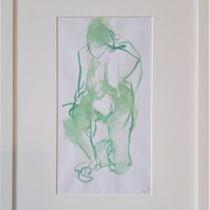 Knieende grün; Maya Franzen; Aquarell m. Passepartout, Holzrahmen weiß 30x40cm; 180€