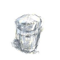 Franziska Lankes, Glas, aus der Serie: bis jetzt 28 Gläser, Bleistift/Ölpastell auf Papier, 21x30cm, Weihnachtsangebot mit Rahmen 100,-€
