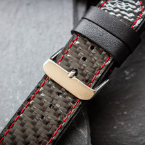 Leather watch bracelet with Carbon