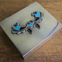 """4457 Navajo Box w/Zuni inlay applique c.1960 3x3.5"""" $1400"""