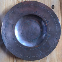 "4586 Navajo/Pueblo Copper Tray w/mark for Garden of the Gods Trading Post 10"" $750"