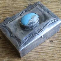 "Navajo Pill Box w/large turquoise cab 1x1.5"" c.1940 $225"