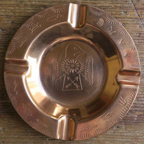 """4989 Navajo Die Stamped Trading Post Copper Ash Tray c.1950 3.5"""" $65"""