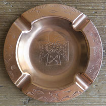 """4539 Navajo Die Stamped Trading Post Copper Ash Tray c.1950 3.5"""" $65"""