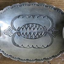 """2332 Navajo Ash Tray w/bow/arrow hallmark Ike/Katherine Wilson c.1930-60 2.x3.5"""" $295"""