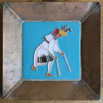 "5236 Navajo/Pueblo copper tray w/enameled tile in the style of Pablita Velarde 9x9"" $650"