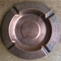 "4294 navajo copper die stamped trading post ash tray c.1950 5.75"" $125"