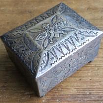"""2716 Navajo Knifewing Box Zuni trading post w/arrowhead mark c.1940 3.25x2.75x2"""" $2500"""