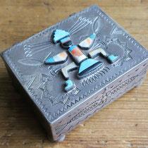 "1640 Navajo/Zuni Knifewing Box Zuni trading post c.1940 2.25x3"" $2950"