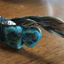 "5266 Zuni turquoise fetish, Teddy Weahkee c.1940's 1.5x.5x5"" $1200"